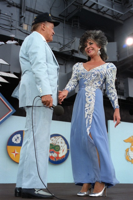 The Alien File, or A-File, of the late actress Elizabeth Taylor, shown here in 1986 with Bob Hope, is among the records available in the online reading room of U.S. Citizenship and Immigration Services. (NARA Identifier 6416844)